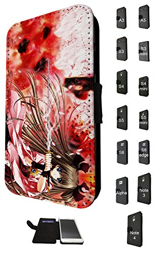 Galaxy Gucci Flip Case S5 Samsung (815 - Katana Warrior Girl Anime Manga Design Samsung Galaxy S4 Mini Fashion Trend TPU Leder Brieftasche Hülle Flip Cover Book Wallet Credit Card Kartenhalter Case)