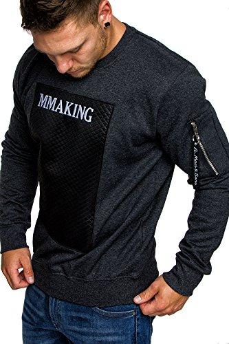 Amaci&Sons Herren Cargo Pullover Sweatjacke Pulli Sweater Kapuzenpullover Sweatshirt 4017 Anthrazit M