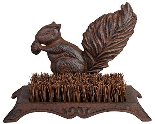 Esschert design zerbino, zerbino motivo scoiattolo in ghisa con pennello, 25 cm x 16 cm (Cat Squirrel)