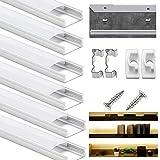 Profilo Led In Alluminio, DazSpirit 6Pack da 1M/3,3ft Canalina Striscia Led U-Figura Con Coperchio Diffusore Bianco Latte Profilo Alluminio per Strisce LED