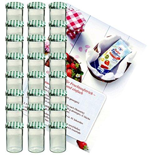 MamboCat 24er Set Sturzglas 435 ml Marmeladenglas Einmachglas Einweckglas to 82 grün Karierter Deckel Incl. Diamant-Zucker Gelierzauber Rezeptheft