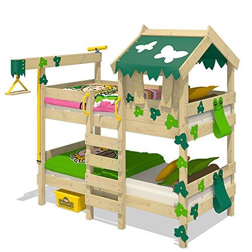 Wickey Etagenbett CrAzY Ivy Spielbett für 2 Kinder Hochbett mit Dach, Kletterleiter und Lattenboden, grün-apfelgrün (Mädchen-haus-etagenbett)