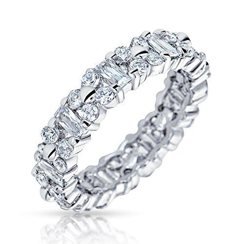 Bling Jewelry Geometrische Zirkonia AAA Cz Ewigkeit Abwechselnd Baguette Jahrestag Ehering Ring Für Damen Silber