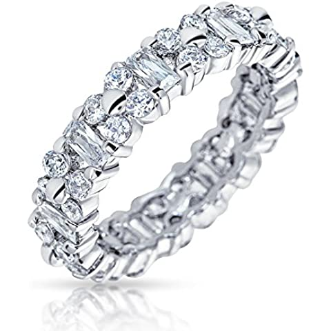 Bling Jewelry Vintage Sterling Silver CZ Eternity Wedding Band Ring