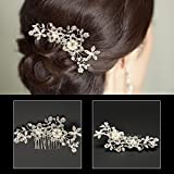 AmberRoze Bridal Hair White Pearl Crystal Headdress
