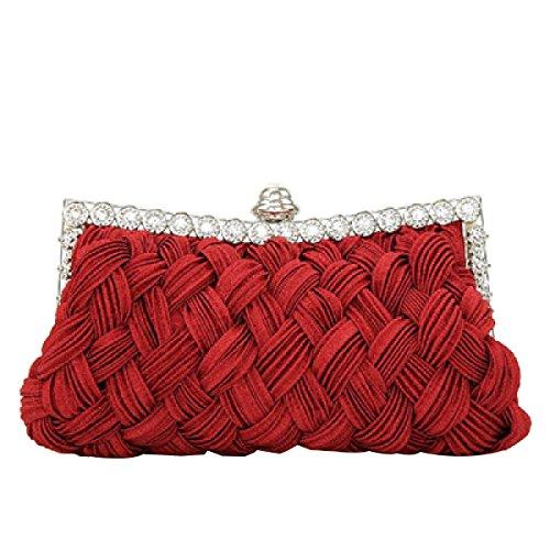 Frauen Hochzeit Clutch Jeweled Plissee-Cocktailparty-Handtasche Red
