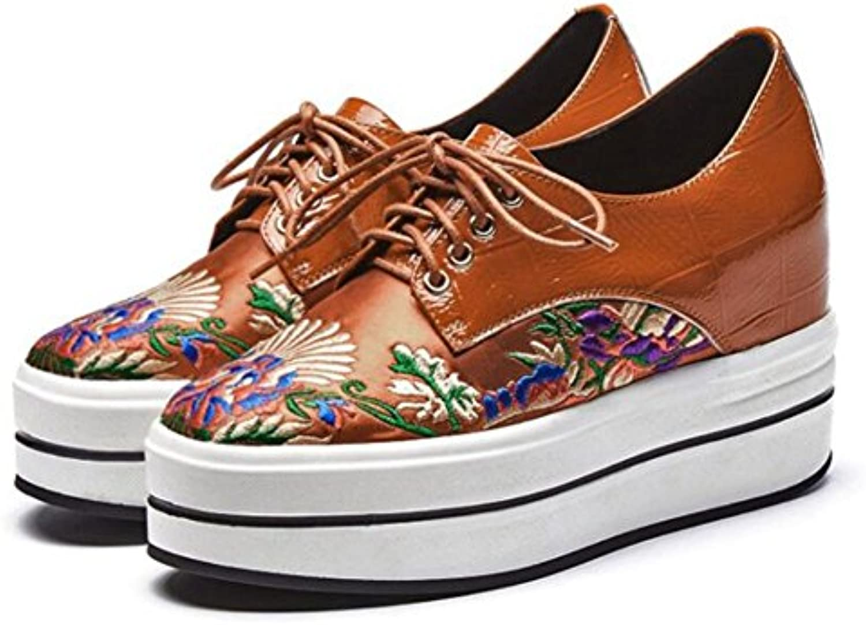 GAOLIXIA Damen Damen Schuhe Frühling Keil Leder Lace Up Einzel Schuhe Wild Stickerei Dick Plattform High Heelsö