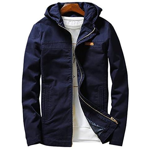 WALK-LEADER - Sweat-shirt à capuche - Uni - Col Chemise Classique - Manches Longues - Homme - bleu - Large
