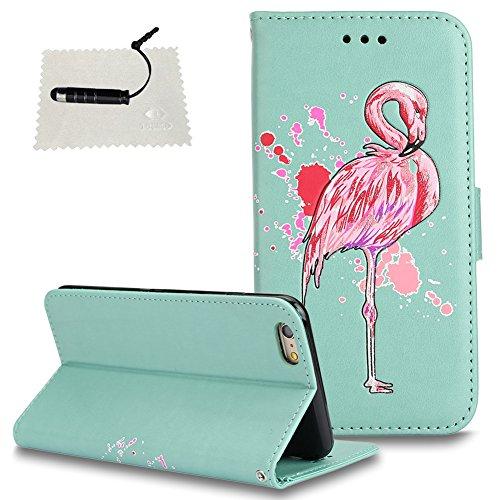 TOCASO Wallet Ledertasche Schutzhülle Flamingo Glitzern Blumen für iPhone 6 Plus / 6S Plus 5.5