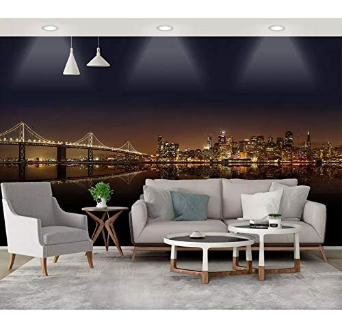Europäische Moderne Wand Stadt Nacht Szene Hintergrund Wandmalerei 3D Wallpaper Für Wände Wohnzimmer Schlafzimmer 3D Wandbild Tapete, 380X260Cm (149.61X102.36 In)