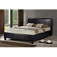 brown faux leather double bed frame 4ft6