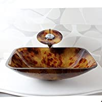 AIURLIFE Rettangolare in vetro temperato nave lavello con rubinetto cascata Pop - Up di scarico e anello di montaggio