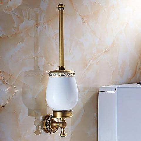 Latón sólido estilo europeo cepillo sanitario wc antiguo juego de cepillos cepillos de limpieza wc glass