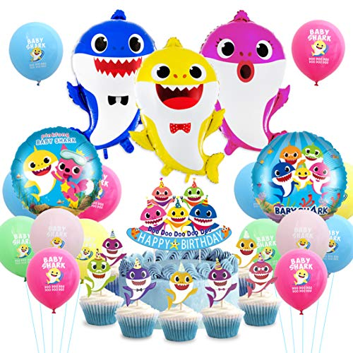 Jollyboom Baby Shark Party Dekoration Lieferungen Baby Shark Ballons Cake Topper Cupcake Picks Dekor für Kinder Geburtstag Party Baby Shower