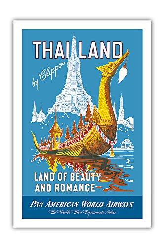 Pacifica Island Art Thailand mit Clipper - Land der Anmut und Romatik - Pan Am - Vintage Retro Fluggesellschaft Reise Plakat Poster c.1950s - Premium 290gsm Giclée Kunstdruck - 61cm x 91cm -