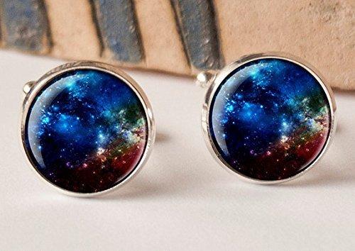 Manschettenknöpfe, Motiv: tiefblauer Sternennebel, Galaxie, Sonnensystem, Geschenkidee, Herren-Manschettenknöpfe, geeignet für Hochzeit, Vintage-Stil
