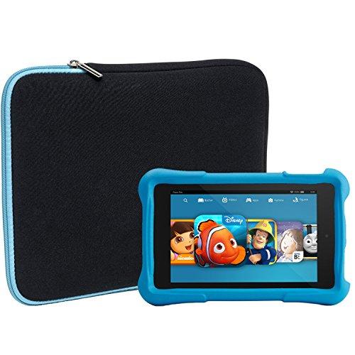 Hd-tasche (Slabo Tablet Tasche Schutzhülle für Amazon Fire HD 8 Kids Edition (7. Generation - 2017) Hülle Etui Case Phablet aus Neopren - TÜRKIS/SCHWARZ)