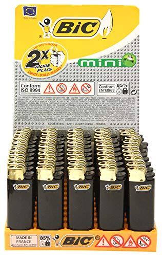 Bic Mini Feuerzeuge, mit Reibradzündung, goldfarbener Zündstein, 50Stück