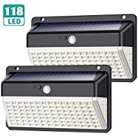 Solar Lights Outdoor, Yacikos [Super Bright-2200mAh] 118 LED Solar Security Lights Motion Sensor [270º Illumination] Solar Powered Lights Waterproof Wall Lights with 3 Modes for Outside, 2 Pack