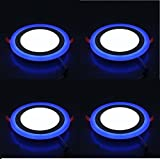 #4: DMT 6W LED Side Blue Round Panel Light Ceiling 3D Effect Lighting (Double Color) - Pack of 4