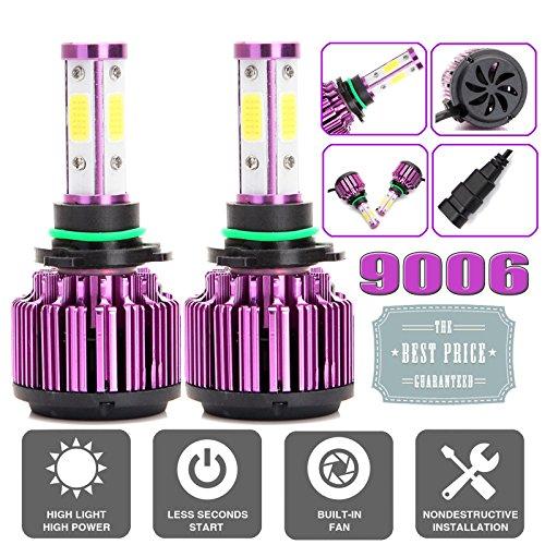 1 paire de 9006 de voiture LED Ampoules de phare kit de conversion - HB4 9012-4 Côtés faciles à puces pour haute/basse Faisceau DRL Ampoule de brouillard - 20000lm Blanc froid 6500 K - 2YR Garantie