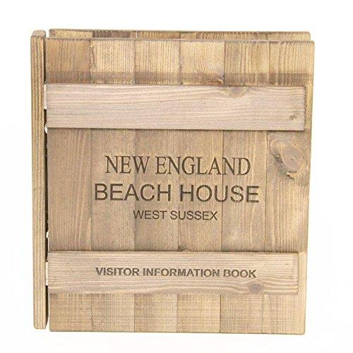Canterbury guest room cartella in legno, finitura rovere chiaro, contiene formato a4–incisione, personalizzabile con il testo