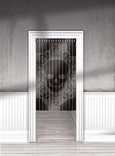 TÜRVORHANG - TOTENKOPF - 91 x 165 cm, Halloween Dekorationen Türdeko Doordeko Raumdekorationen Skull Totenschädel