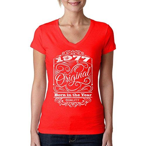 Fun Sprüche Girlie V-Neck Shirt - Original Born 1977 Shirt by Im-Shirt Rot