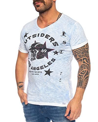 LARAZÉ Race to Hell Herren T-Shirt Tee Kurzarm Shirt Mit V-Ausschnitt S-XXL, Größe:XXL, Farbe:Hellblau