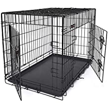 FEANDREA Jaula metálica para Perros Transportín Plegable para Mascotas Negro XXL 106 x 70 x 77