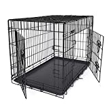 FEANDREA Cage pour Chien 2 Portes Pliable et Transportable avec Poignées et Plateau Noir XXL 106 x 70 x 77,5 cm PPD42H
