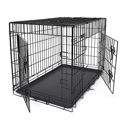 FEANDREA HundeKäfig 2 Türen Hundebox Transportbox faltbar TransportKäfig DrahtKäfig Katzen Hasen Nager Kaninchen Geflügel Käfig Schwarz XXL 106 x 77,5 x 70 cm PPD42H