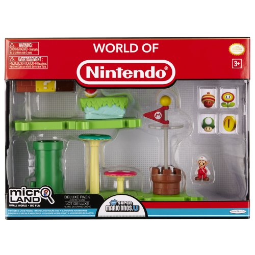 Mario Bros - World of Nintendo Micro Land Playset Deluxe: Acorn Plains with Fire Mario figura (Jakks Pacific JAKKNIN020APFM)