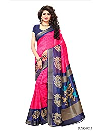 Fragrance Trendz Women's Bhagalpuri Silk Zari Border Printed Saree With Blouse Piece.(Bhagalpuri 806_Free Size)