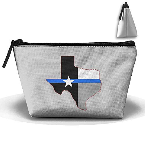 Texas Blue Thin Line Map Flag Makeup Bag Pencil Bag Multifunction Pouch Cosmetic Packing Bag -