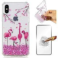 iPhone X Hülle JINCHANGWU Transparent Durchsichtig TPU Silkon Handyhülle mit Panzerglas Displayschutzfolie 360 Full Cover Protection Stoßdämpfung Schutzhülle - Flamingos