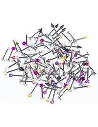 BODYA Lot de 100piercings barres fluorescents dans la nuit (lumière UV) pour lèvre en acier chirurgical - Couleurs variées - 1,2mm