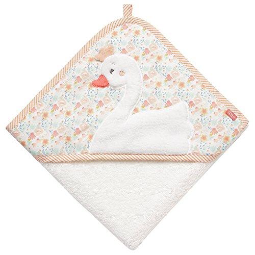(Fehn 062199 Kapuzenbadetuch Schwan   Bade-Poncho aus Baumwolle mit Schwan Motiv für Babys und Kleinkinder ab 0+ Monaten   Maße: 80x80cm)