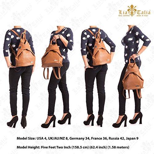 LiaTalia Mittelgroße echte italienische Ledertasche Twistlock Detail Rucksack Tasche mit Schutz Staubbeutel - Willow Dunkelbraun