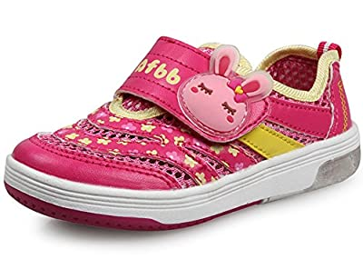 LISA HANDMADE Girls' Leisure Mesh Sneakers Little Girls' Big Kids' Walking Shoes with Shining Lighting by LISA HANDMADE