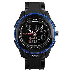 SKMEI Dual Time Multifunctional Analog-Digital Wrist Watch for Men & Women - 1157 Blue