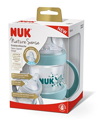 Nuk Nature Sense Trinklernbecher, Auslaufsicher, Extra Breite & Weiche Trinktülle, Auslaufsicher, 6-18 Monate, BPA-frei, 150ml, Grün - 7