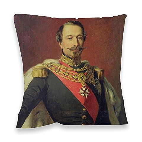 Portrait of Emperor Louis Napoleon III,.. - 40x40cm Premium Feather Filled Faux Suede Cushion - Art247