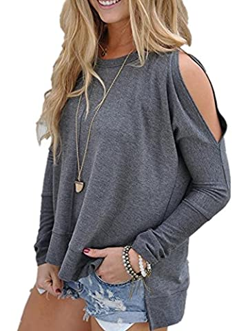 ICOCOPRO Womens Cold Shoulder Tops Long Sleeve Cutouts Blouse round neck loose Fit- Gray Tshirt- S