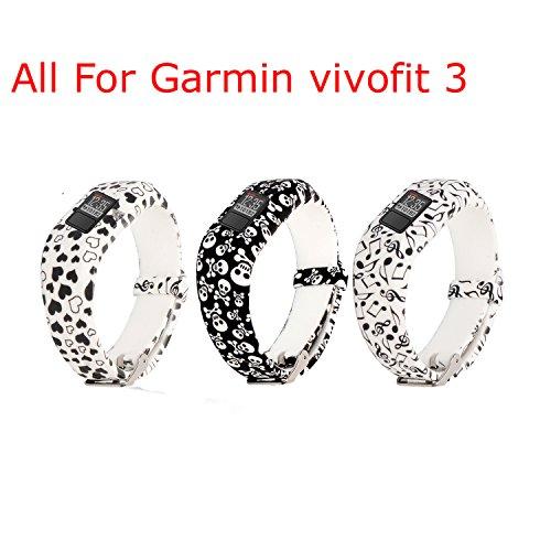 mtsugar sostituzione cinturino con chiusura sicura Garmin Vivofit 3Solo (no Tracker, Bande di ricambio solo), Musical&Heart&Skull