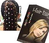 Miya 1 Set Hair Bling bunt Haarschmuck Glitzersteine zum einfädeln Kinder Strassteine steinchen Glitzer Frisur Haarkristalle ohne Hitze einfädeln HB001 (HB001)