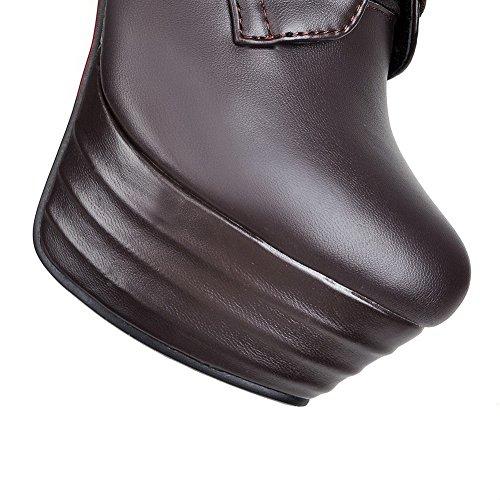 AgooLar Damen Knie Hohe Schnüren Blend-Materialien Hoher Absatz Rund Zehe Stiefel Braun