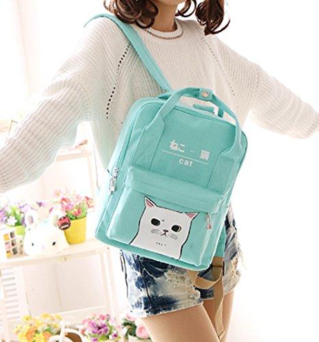 Imagen de las mujeres niñas japonés y coreano estilo bolsas kawaii gato lienzo escuela , verde alternativa