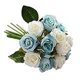Jun7L Unechte Blumen,Künstliche Deko Blumen Gefälschte Blumen Seidenrosen Plastik 12 Köpfe Braut Hochzeitsblumenstrauß für Haus Garten Party Blumenschmuck - Weiß Blau 25x17cm