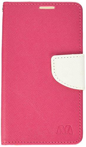 MyBat Wallet Case for LG VS425PP (Optimus Zone 3), LG K120 (SPREE) - Hot Pink Pattern/White Liner